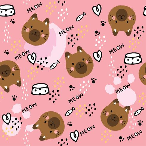 Cartoon cute sweet cat seamless pattern vector.