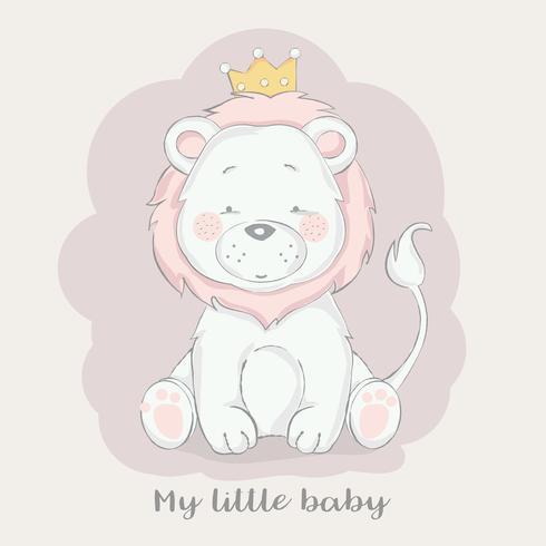 estilo de mão desenhada bebê fofo leão dos desenhos animados