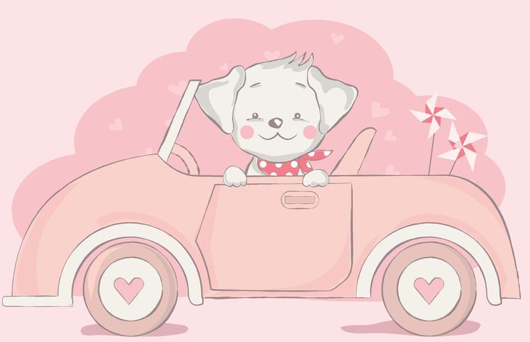 niedlicher kleiner Hund mit Auto-Cartoon