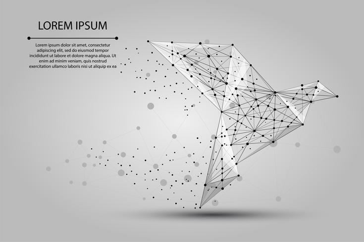 Imagen abstracta de un pájaro de papel de origami que consiste en puntos, líneas y formas. Ilustración vectorial de negocios Espacio poli, estrellas y universo.