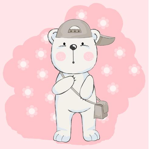 cute baby bear with pink background, cartoon style