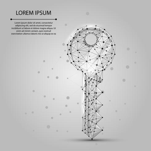 Polygonal wireframe mesh keyfrom dots and lines. Security or success vector illustration.