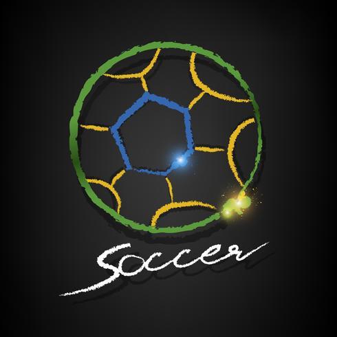bola de futebol de desenho em um quadro negro