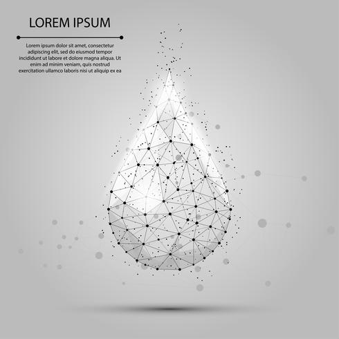Low poly wireframe water drop with dots and stars. Fresh aqua or liquid, eco nature vector illustration