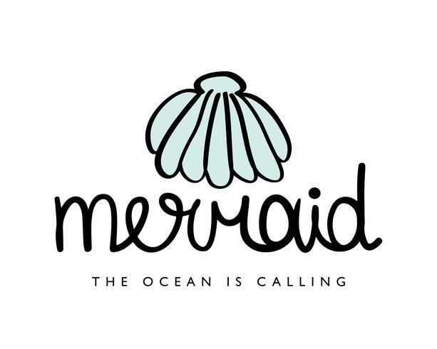 Diseño sirena con concha de mar. vector