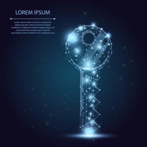 Polygonal wireframe mesh key on blue night sky with dots, lines and stars. Security or success vector illustration.