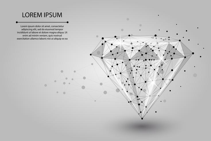 Immagine astratta di un diamante composto da punti, linee e forme. Illustrazione vettoriale di affari Spazio poli, stelle e universo