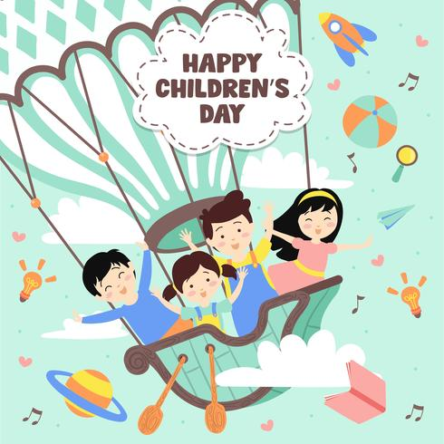 Happy Children's day Illustration. World of imagination with kids on vintage hot air balloon, rocket, rainbow, moon, planets, idea and balloons floating above clouds - Vector Illustration