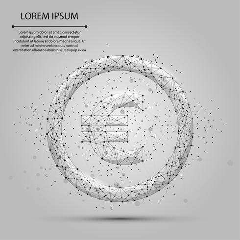 Linea di poltiglia astratta e punto Euro segno. Illustrazione vettoriale di affari Poligonale valuta low poly