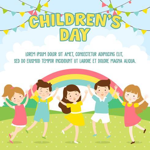 Fondo felice dell'illustrazione del giorno dei bambini. Bambini che giocano nel parco - illustrazione vettoriale