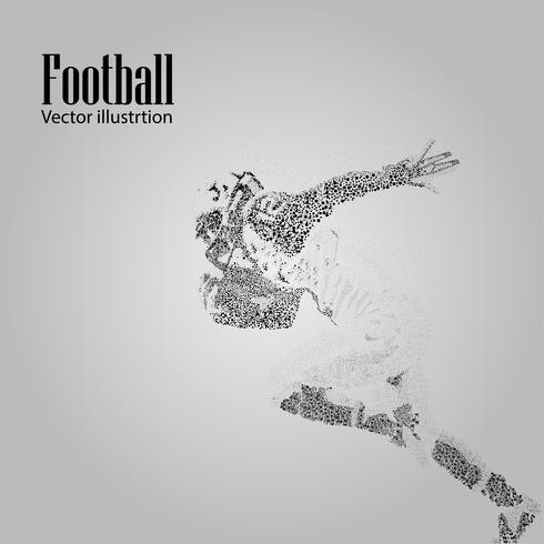 Fußsilhouette eines Fußballspielers aus Teilchen. Hintergrund und Text auf einer separaten Ebene, Farbe kann mit einem Klick geändert werden. Rugby. Amerikanischer Fußball