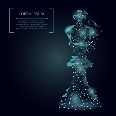 Abstract mash line and point king of chess. Vector business illustration. Polygonal low poly.