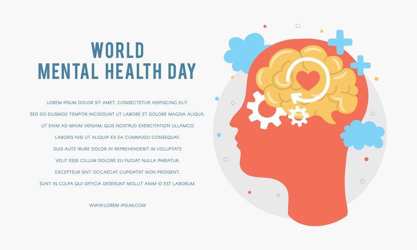 Modelo de cartaz do dia da saúde mental do mundo. Silhueta da cabeça de um homem com cérebro, engrenagem, amor. Crescimento Mental. Limpe sua mente. Pensamento positivo. Vetor - Ilustração