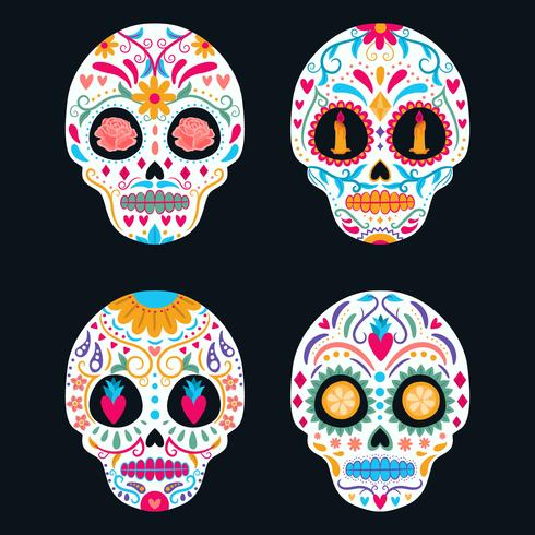 Set di teschio di zucchero colorato isolato. Giorno dei morti, Dia de Los Muertos, banner / poster con fiori messicani colorati, teschio, candela. Festa, manifesto di festa, volantino di partito, biglietto di auguri divertente, modello vettore