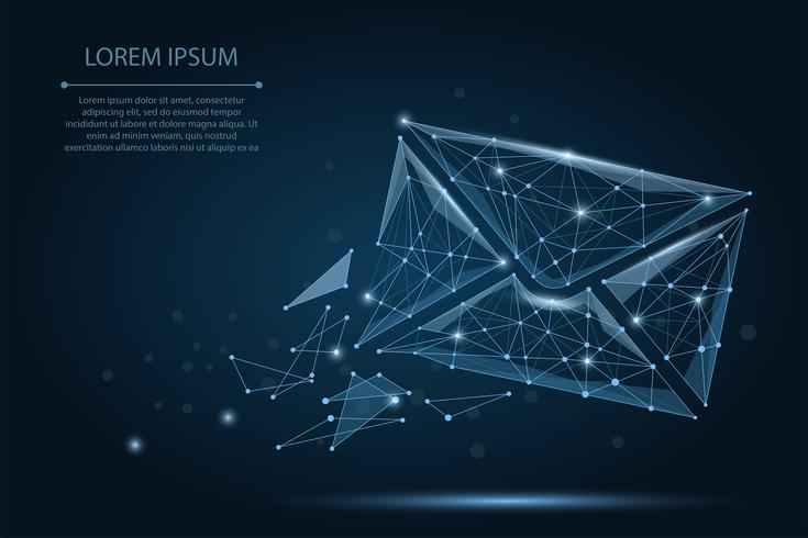 Message. Polygonal wireframe mesh envelope on dark blue night sky with dots and stars. Low poly Mail, Letter, email or other concept vector illustration