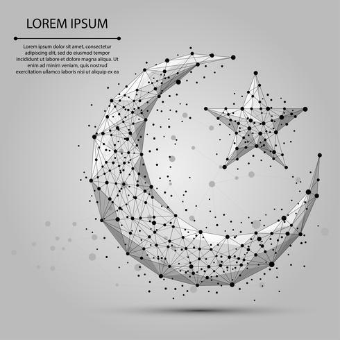 Línea de puré abstracta y punto de luna creciente. Ejemplo poligonal del wireframe del vector abstracto en fondo gris. Árabe, islámico, musulmán, ramadán de diseño.