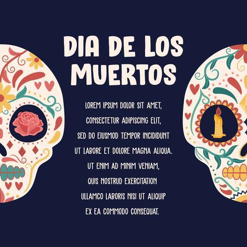 Affiche de crâne de sucre. Jour des morts, Dia de Los Muertos, bannière avec des fleurs mexicaines colorées. Fiesta, affiche de vacances, flyer du parti, carte de voeux drôle - Illustration vectorielle vecteur