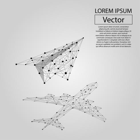 Línea de puré abstracto y plano de origami punto con sombra en forma de avión de pasajeros. Ilustración vectorial de negocios Poligonal baja poli. Potencial escondido, motivación, objetivo de negocio y concepto de crecimiento personal. vector
