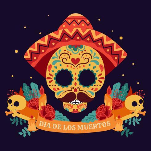 Crâne de sucre. Jour des morts, Dia de Los Muertos, bannière avec des fleurs mexicaines colorées. Fiesta, affiche de vacances, flyer du parti, carte de voeux drôle - Illustration vectorielle vecteur