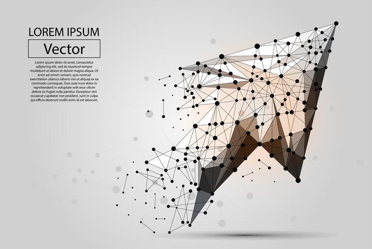 Abstrakte Maischelinie und Punkt Pfeil. Polygonale niedrige Polygeschäftsillustration des Vektors.