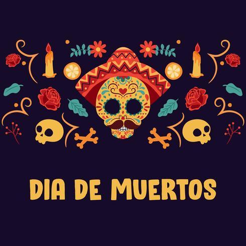 Teschio di zucchero. Il giorno dei morti, Dia de Los Muertos, striscione con fiori messicani colorati. Festa, poster di vacanza, volantino festa, biglietto di auguri divertente - illustrazione vettoriale