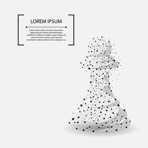 Línea de puré abstracta y punto de ajedrez de peón. Ilustración vectorial de negocios Poligonal baja poli. vector