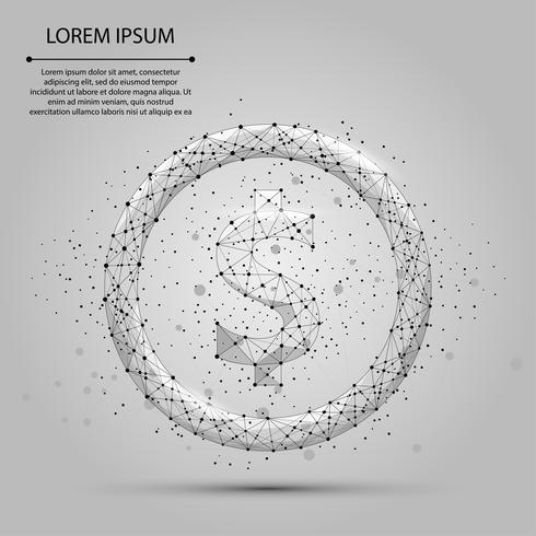 Ligne de purée abstraite et signe du dollar. Illustration de vecteur d'entreprise Monnaie polygonale low poly
