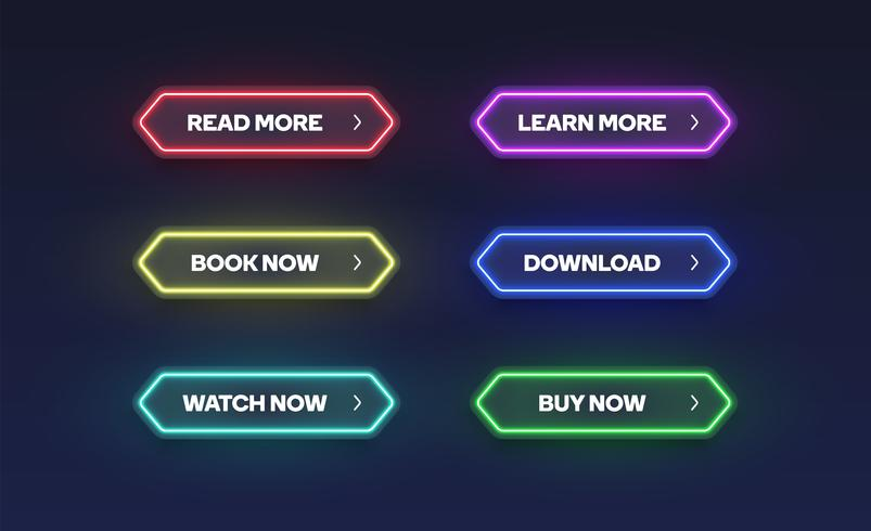 Colorful shining neon button set, vector illustration