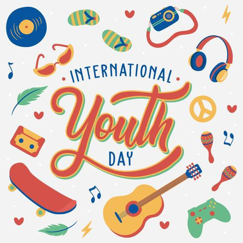 Hand Lettering International Youth Day. 12th August. Hand Drawn Illustration, music, skateboard, guitar, camera, headset, sunglasses, folk, young. Vector - Illustration