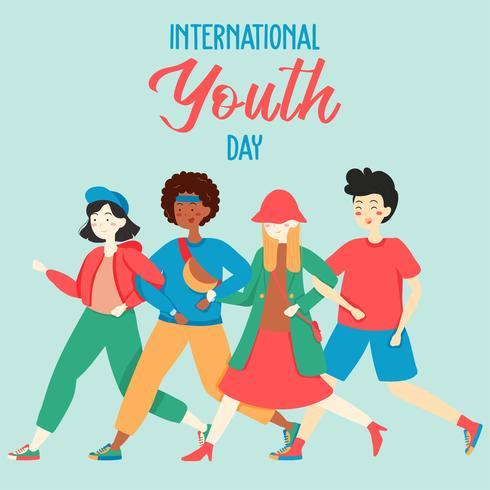 Feliz Día Internacional de la Juventud. Grupo de personas adolescentes de jóvenes y niños diversos que se dan la mano, tocan música, patinen, fiesta, amistad. Vector - Ilustración