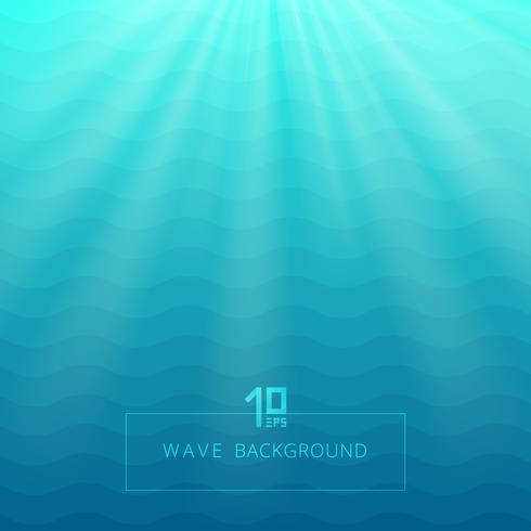 De abstracte blauwe onderwaterachtergrond van golvenlijnen met verlichting glanst. vector