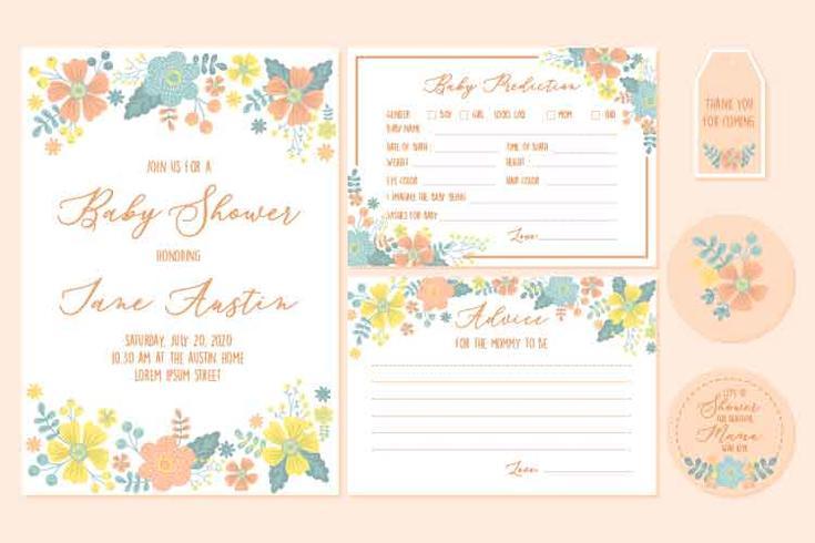 Baby Shower Girl Invitación Plantillas imprimibles con deseos florales y de bebé para los recién nacidos. Vector - Ilustración