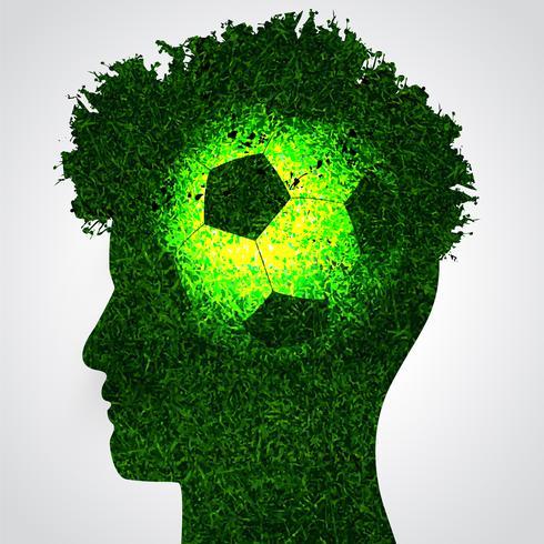 cerveau de football dans la tête humaine