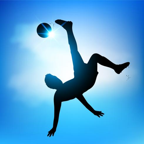 Jugador de futbol tijera patada vector