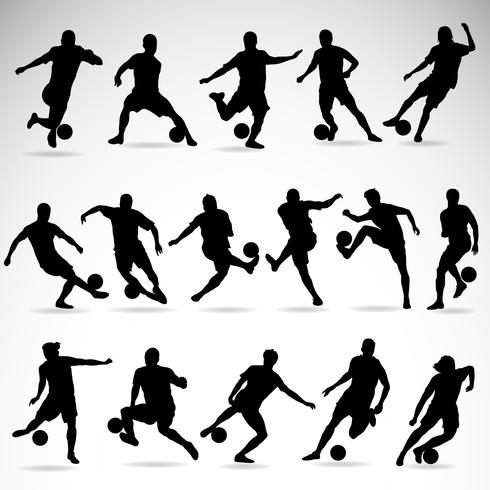 Soccer action silhouettes