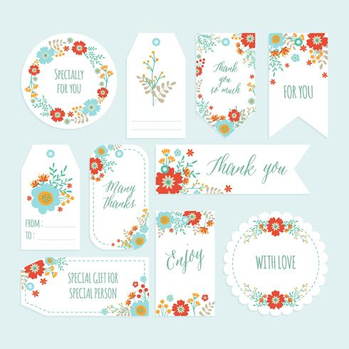 Set of Romantic Flower Thank You Tag set with Hand Drawn Spring flower. Gift tags, Labels with Flower Template. Printable. Vector - Illustration