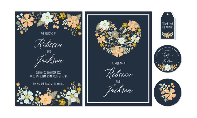 Navy Floral, Flower Wedding Invitation, Biglietto di ringraziamento, tag, coaster stampabile con modelli floreali, collezione di fiori