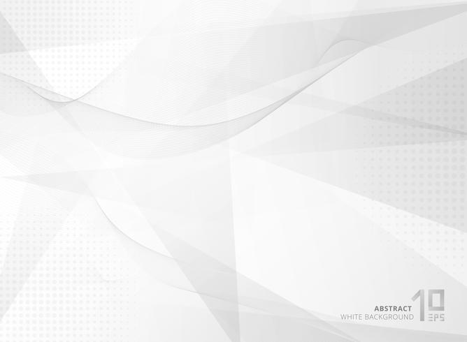 Abstracte grijze geometrisch met spiraalvormig lijnenpatroon en straal halftone op witte achtergrond.