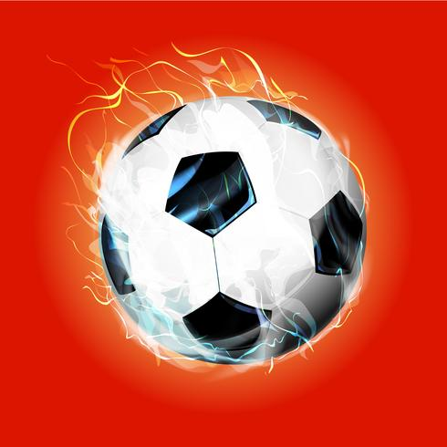 Red fire soccer ball