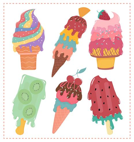 hand drawn flat vector sweet pastel ice cream melted summer collection