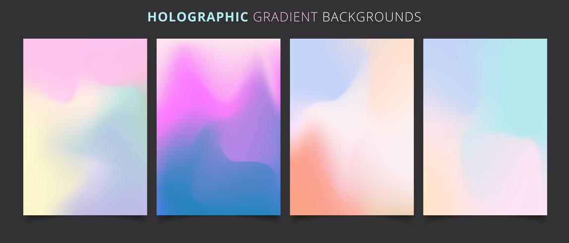 Modèle fond coloré de dégradés holographiques vecteur