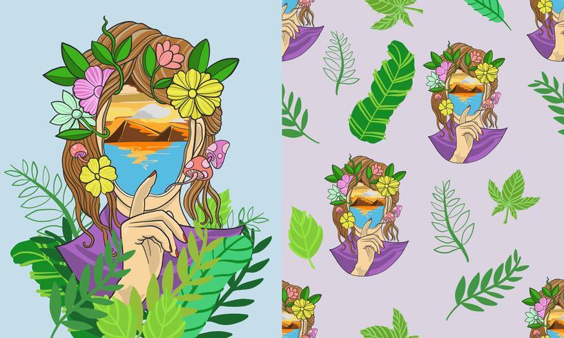 Fantasy girl tropical seamless pattern