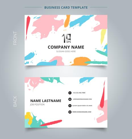 Name card template abstract shapes art pattern pastels color on white background.
