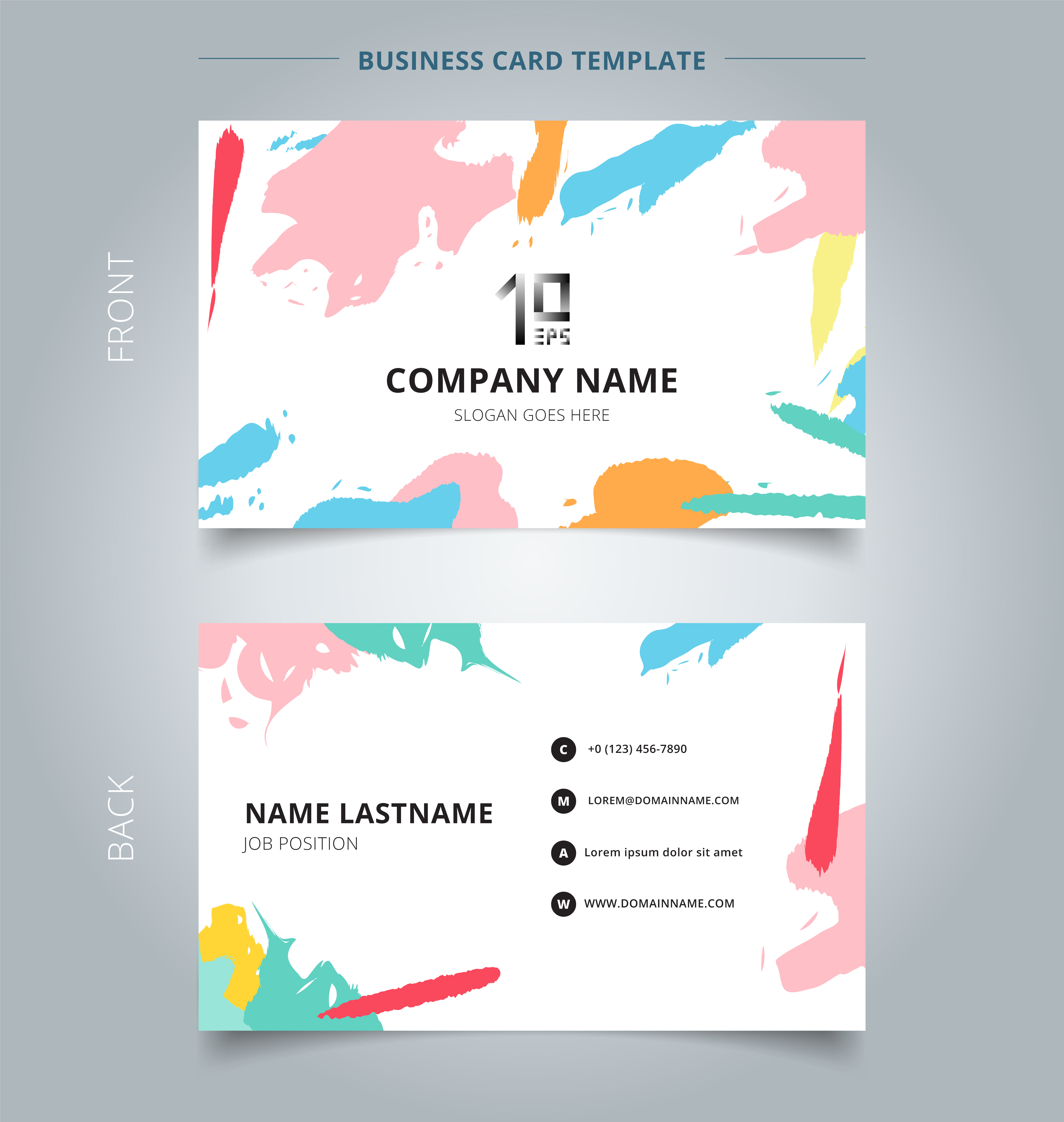 name card template abstract shapes art pattern pastels