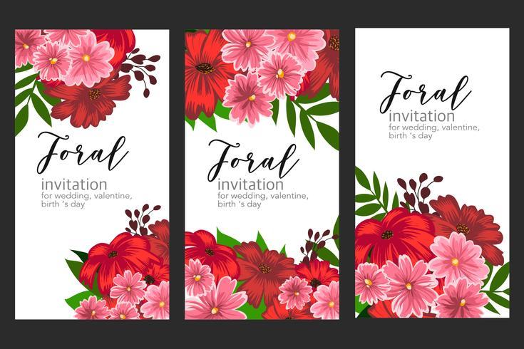 Bloemen bloem bruiloft banner kaart vector