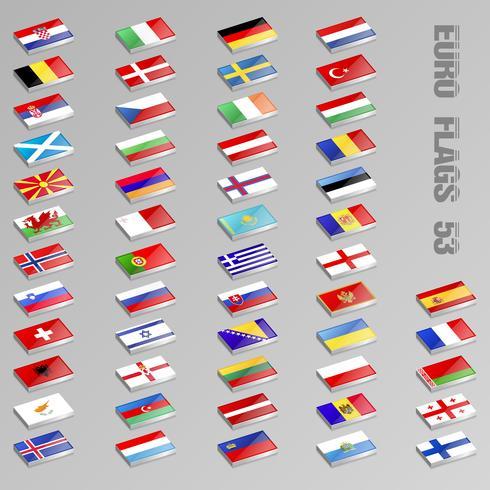 Drapeaux européens isométriques vecteur