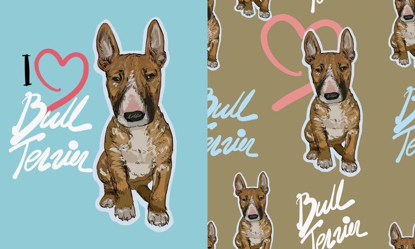 Bull terrier schetstekening naadloos