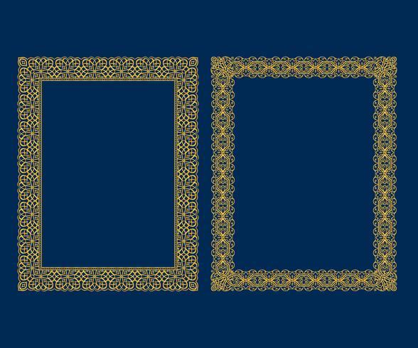 Conjunto de marcos decorativos de lujo de la vendimia y conjunto de las fronteras, marco de fotos de oro Estilo de patrón de decoración de diseño vectorial. vector