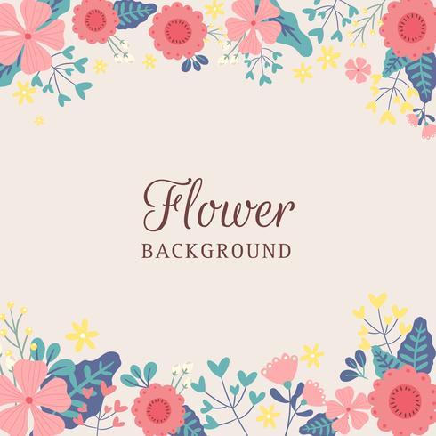 Hand gezeichneter Frühlings-Blumen-Grenzhintergrund - Vector Illustration