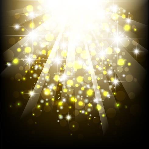 Scoppio della luce del sole estivo giallo. Sfondo estate tipografica con luci bokeh.